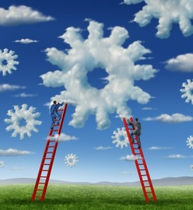Cloud management business with a group of business people climbing red ladders to work on clouds