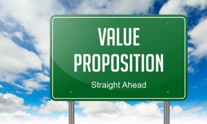 Highway Signpost with Value Proposition Wording on Sky Background