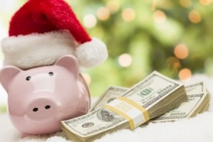 piggy bank in santa hat