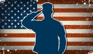 US Army soldier saluting on grunge american flag vector