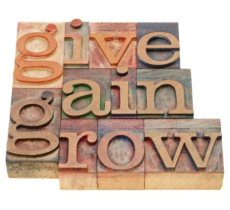 give, gain and grow -personal development concept