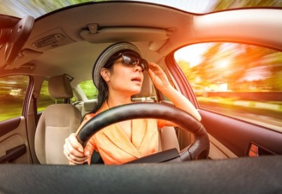 Women behind the wheel of a car, not stares