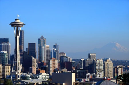 Seattle skyline & Mt. Rainier, Washington state
