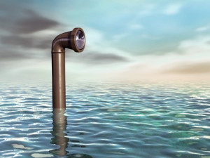 Periscope emerging from a water surface Digital illustration