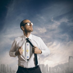 Concept of power in business with battery pack under the shirt