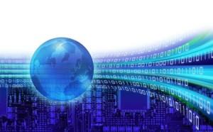 Orbits of binary information speeding around the world globe