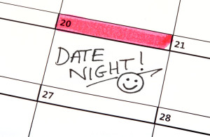 40217683 - a date night highlighted on a calendar.