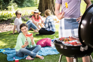 42258643 - horizontal view of barbecue in the park