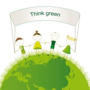 16505181 - happy girls and boys on green globe
