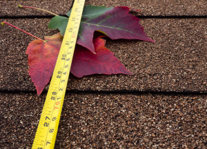 33176854 - tape measure and autumn leaves on asphalt shingles