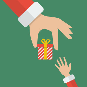 49481788 - santa hand giving a gift box to kid. vector illustration