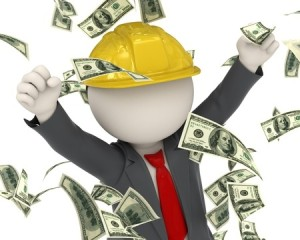 16723481 - 3d rendered construction worker jumping for joy among money rain