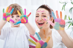 38253795 - happy family with colorful hands
