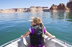 10420479 - little girl on a boat ride at lake powell