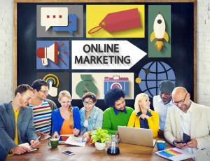 46462224 - online marketing branding global communication analysing concept