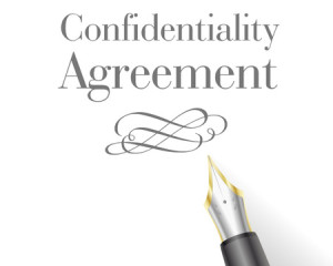 44560229 - illustration of a confidentiality agreement letter with fountain pen