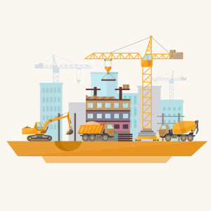45651041 - construction of modern buildings. flat design.