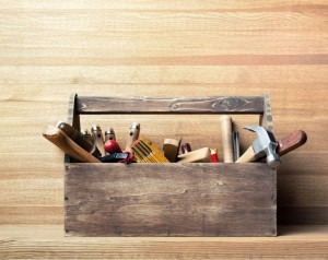 44384955 - wooden toolbox on the table