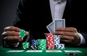 20680845 - portrait of a professional poker player