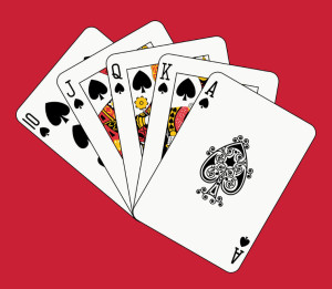 4550069 - royal flush spade on red backgriund