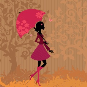 10699097 - woman under an umbrella in the autumn