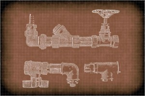 11263492 - imitation of a drawing of plumbing pipes