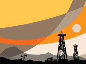 14513588 - oil rig silhouettes and abstract sky