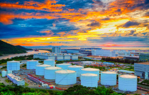 23061069 - oil tanks at sunset , hongkong tung chung