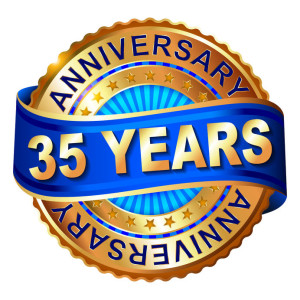 38994149 - 35 years anniversary golden label with ribbon. vector illustration.