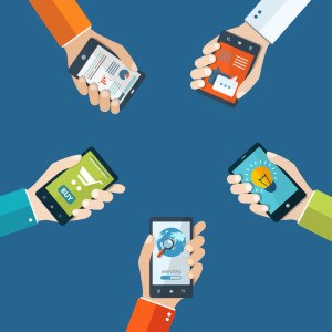 40828787 - mobile applications concept. hand with phones flat illustration.