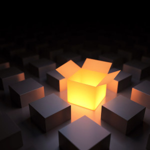 30026419 - unique luminous opened box. 3d render