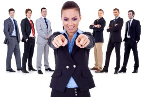 10933827 - business woman pointing to you and choosing for her team