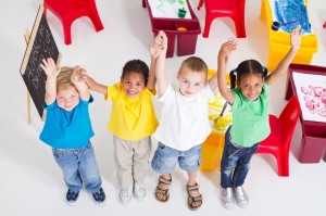 7795726 - overhead of happy preschool kids