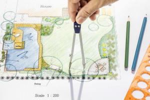 Backyard garden plan in design
