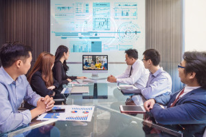 Group of asian Business team having video conference with their