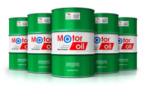 Group of barrels with motor oil lubricant isolated on white back