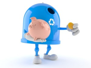 Recycling bin character holding piggy bank