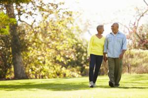 31053828 - senior couple walking through autumn woodland