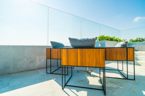 Outdoor patio decoration with char and table