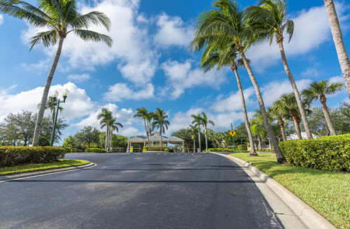 93234133 - guard entrance road to gated community with palms, south florida