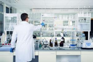 Interior of clean modern white laboratory background. Laboratory concept.