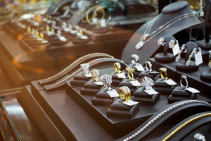 Gold jewelry diamond shop with rings and necklaces luxury retail