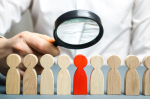 Businessman searching for new employees. Staff recruitment. Select a person in the team. Find a talented employee. Attracting people to work. Bad worker. Weak link. Human Resource. Magnifying glass