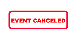 141523931 - red sign in english letters with the information (event) canceled